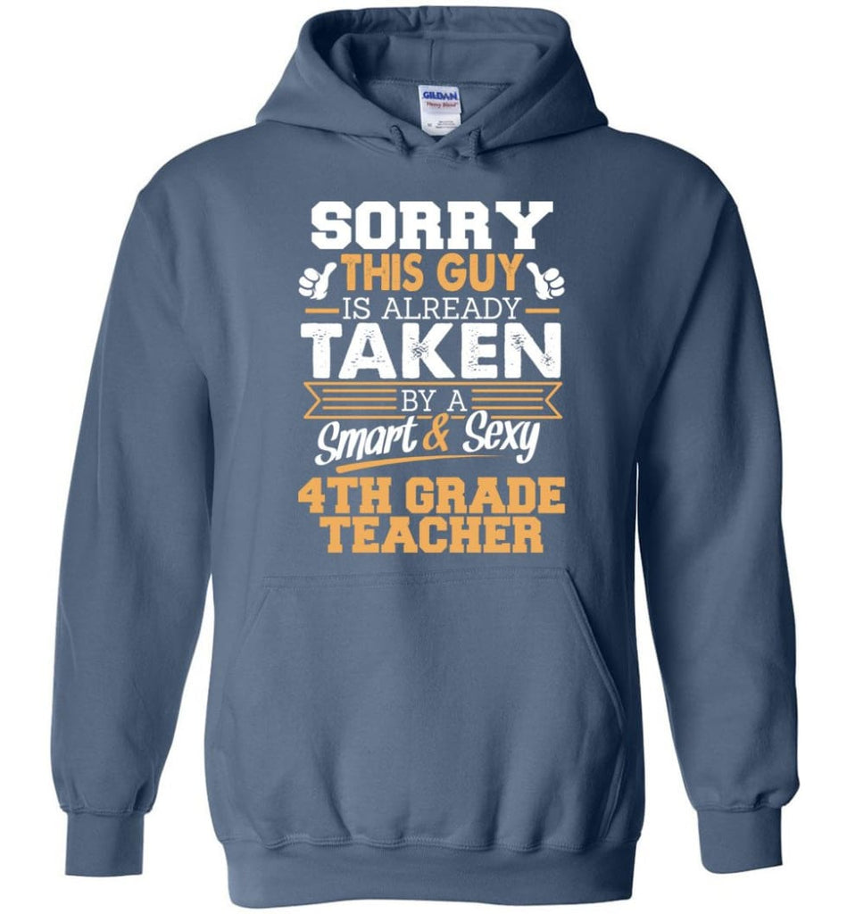 4Th Grade Teacher Shirt Cool Gift For Boyfriend Husband Hoodie - Indigo Blue / M