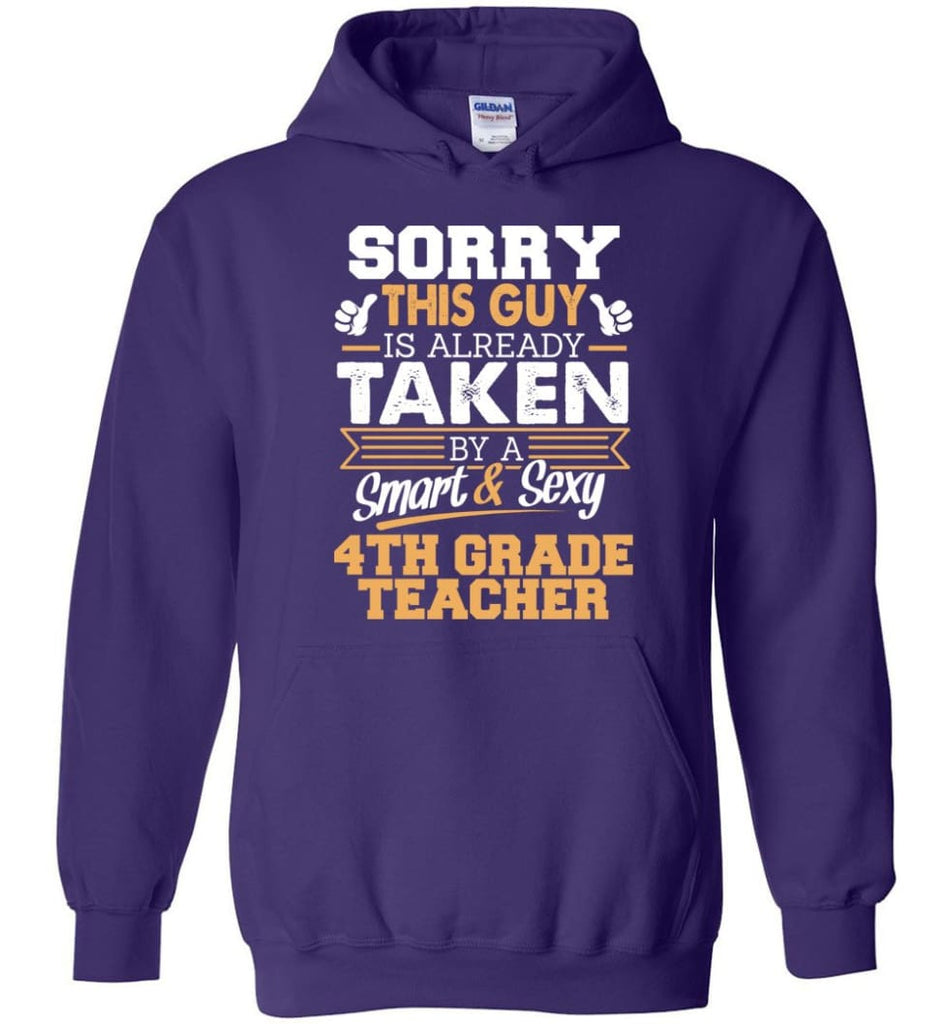 4Th Grade Teacher Shirt Cool Gift For Boyfriend Husband Hoodie - Purple / M