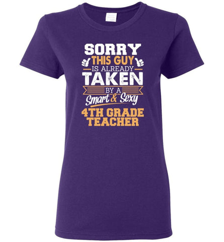4th Grade Teacher Shirt Cool Gift for Boyfriend Husband or Lover Women Tee - Purple / M - 4