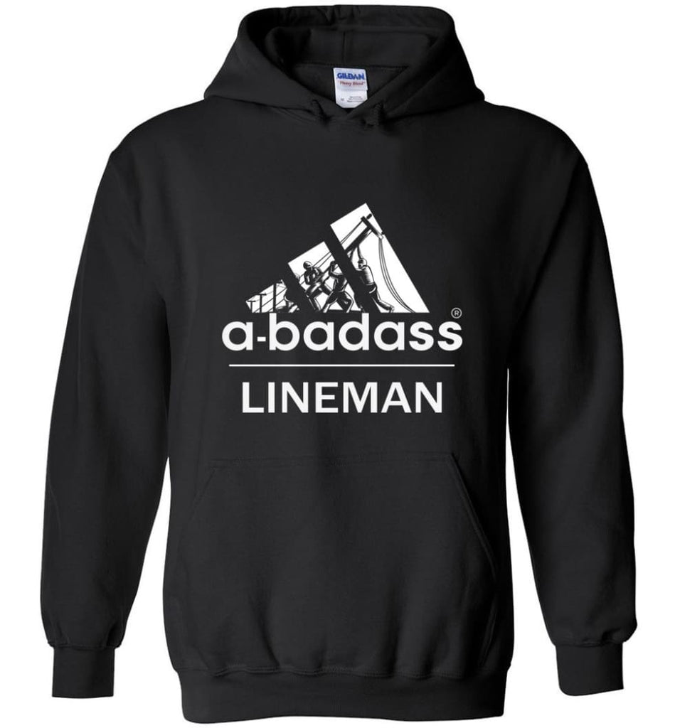A Badass Lineman Shirts My Daddy Is A Lineman Shirt - Hoodie - Black / M