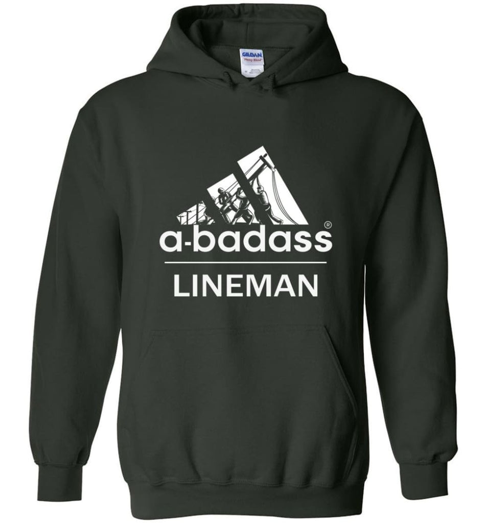 A Badass Lineman Shirts My Daddy Is A Lineman Shirt - Hoodie - Forest Green / M