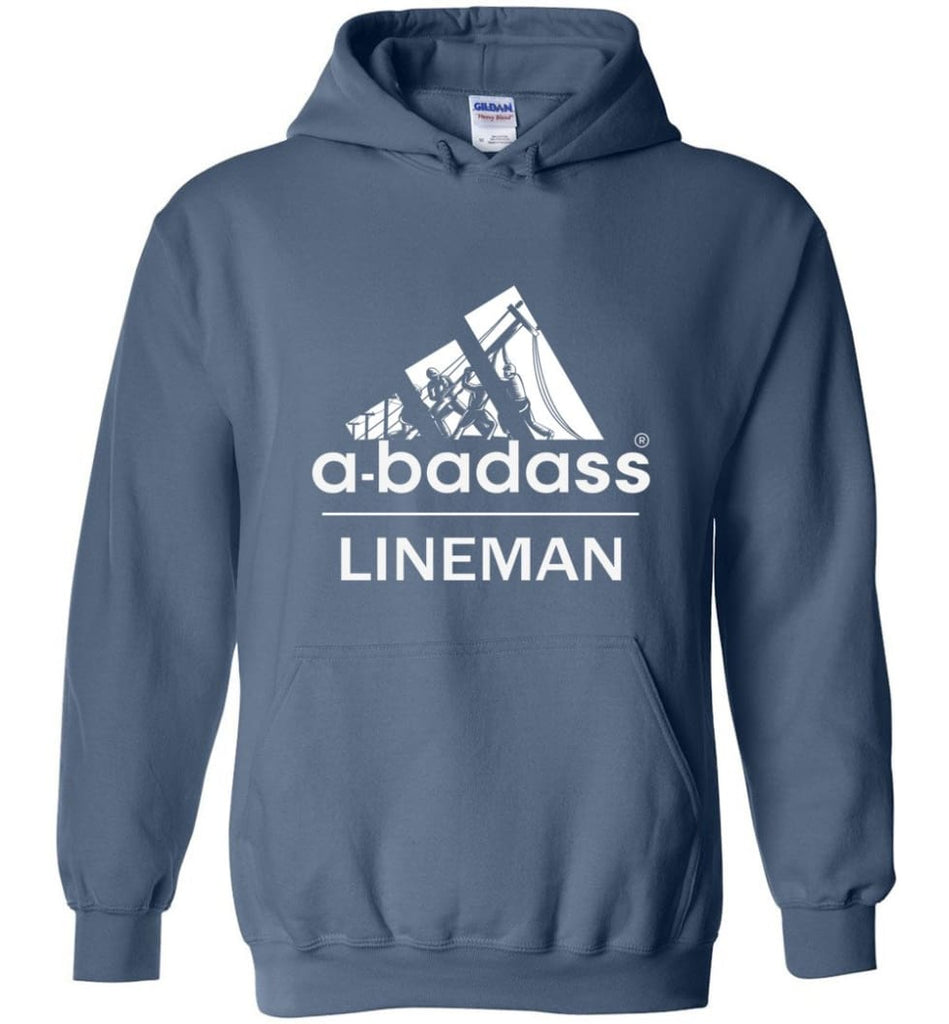 A Badass Lineman Shirts My Daddy Is A Lineman Shirt - Hoodie - Indigo Blue / M