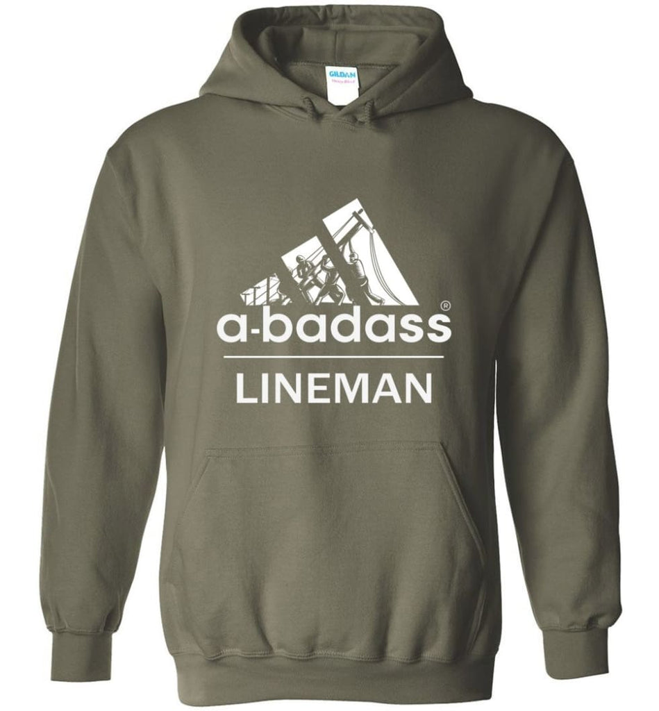 A Badass Lineman Shirts My Daddy Is A Lineman Shirt - Hoodie - Military Green / M
