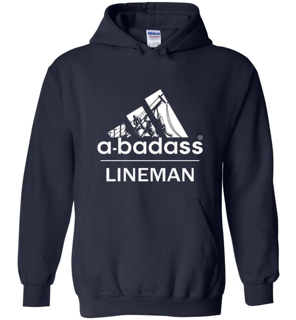 A Badass Lineman Shirts My Daddy Is A Lineman Shirt - Hoodie - Navy / M