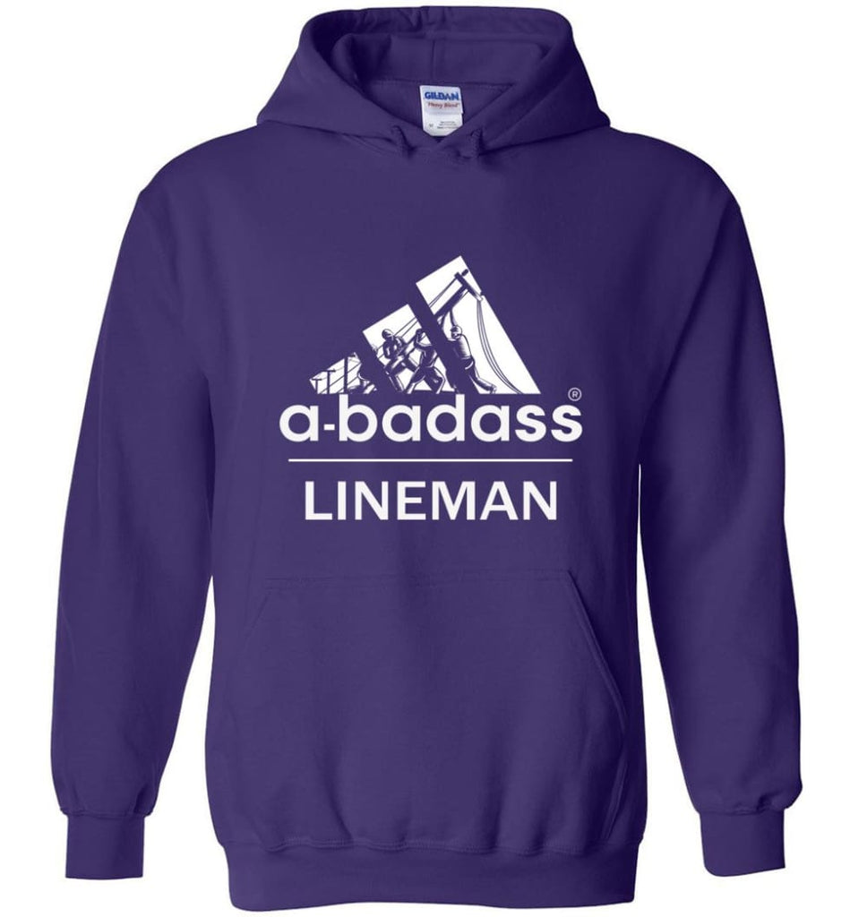 A Badass Lineman Shirts My Daddy Is A Lineman Shirt - Hoodie - Purple / M