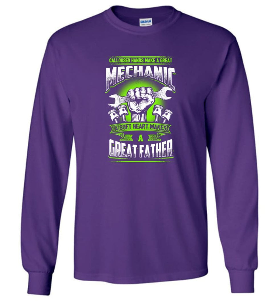 A Great Father Mechanic Mechanic Shirt For Father - Long Sleeve T-Shirt - Purple / M