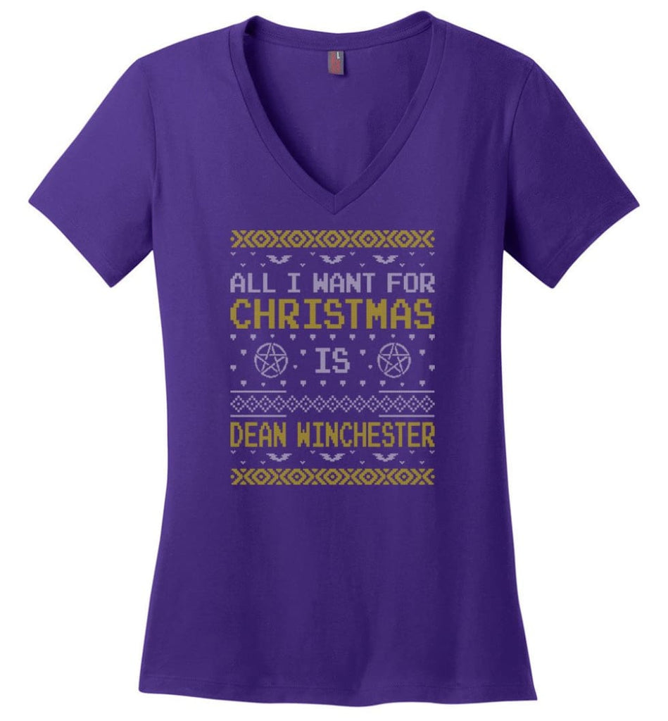 All I Want For Christmas is Dean Winchester Supernatural Sweatshirt Hoodie Shirt - Ladies V-Neck - Purple / M