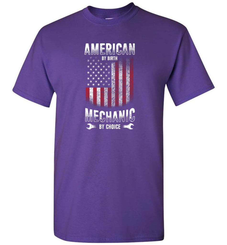 American By Birth Mechanic By Choice Shirt - Short Sleeve T-Shirt - Purple / S