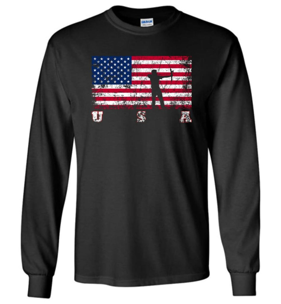 American Flag Archery Funny Archery Bow and Arrow Lover Gift Long Sleeve Shirt - Black / M