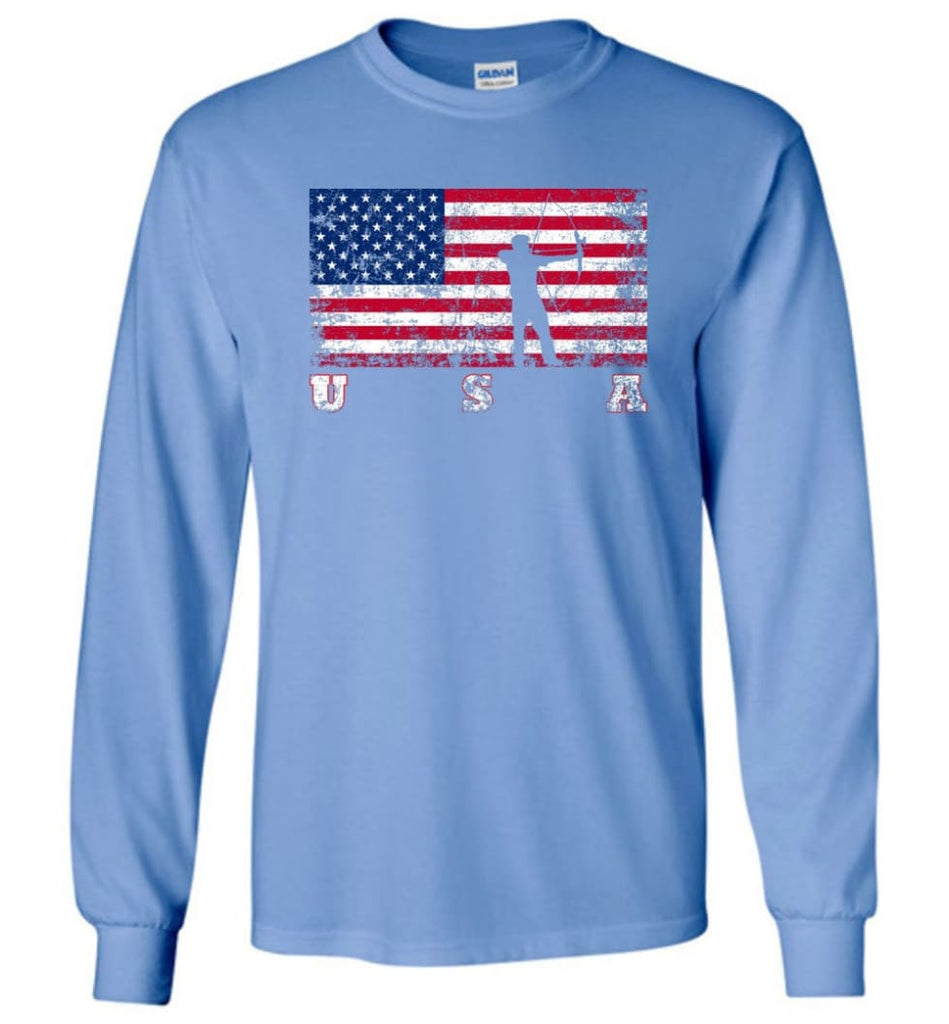American Flag Archery Funny Archery Bow and Arrow Lover Gift Long Sleeve Shirt - Carolina Blue / M