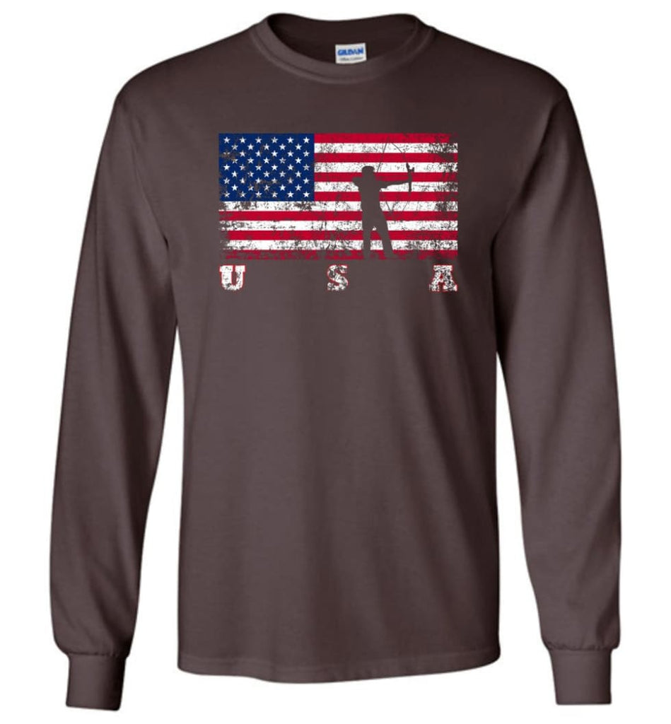 American Flag Archery Funny Archery Bow and Arrow Lover Gift Long Sleeve Shirt - Dark Chocolate / M