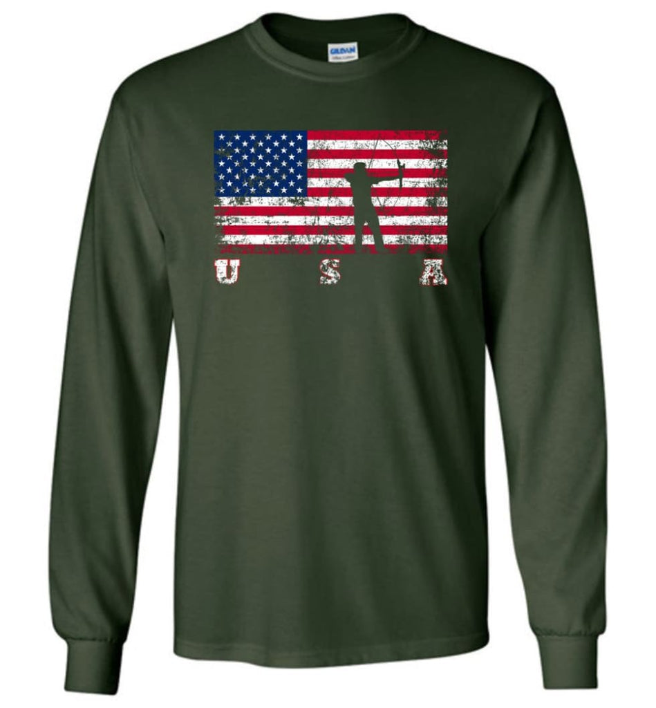American Flag Archery Funny Archery Bow and Arrow Lover Gift Long Sleeve Shirt - Forest Green / M
