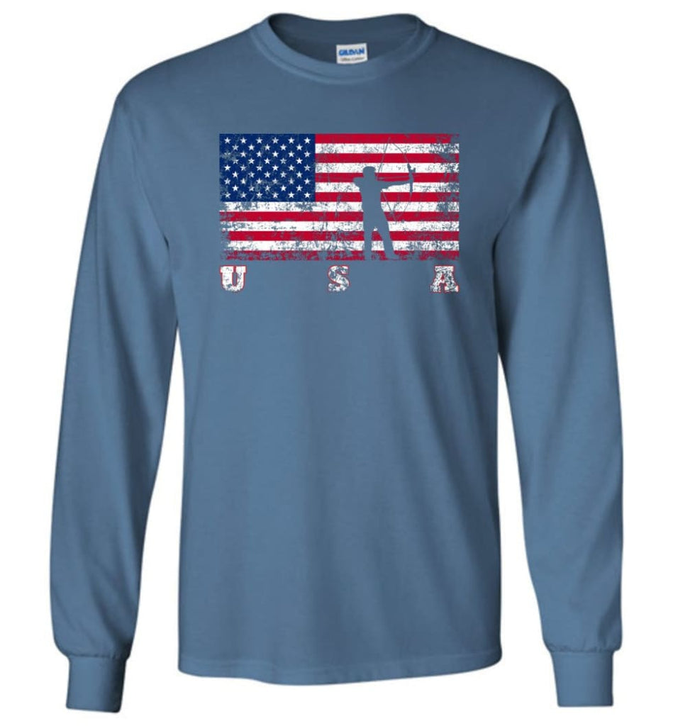 American Flag Archery Funny Archery Bow and Arrow Lover Gift Long Sleeve Shirt - Indigo Blue / M