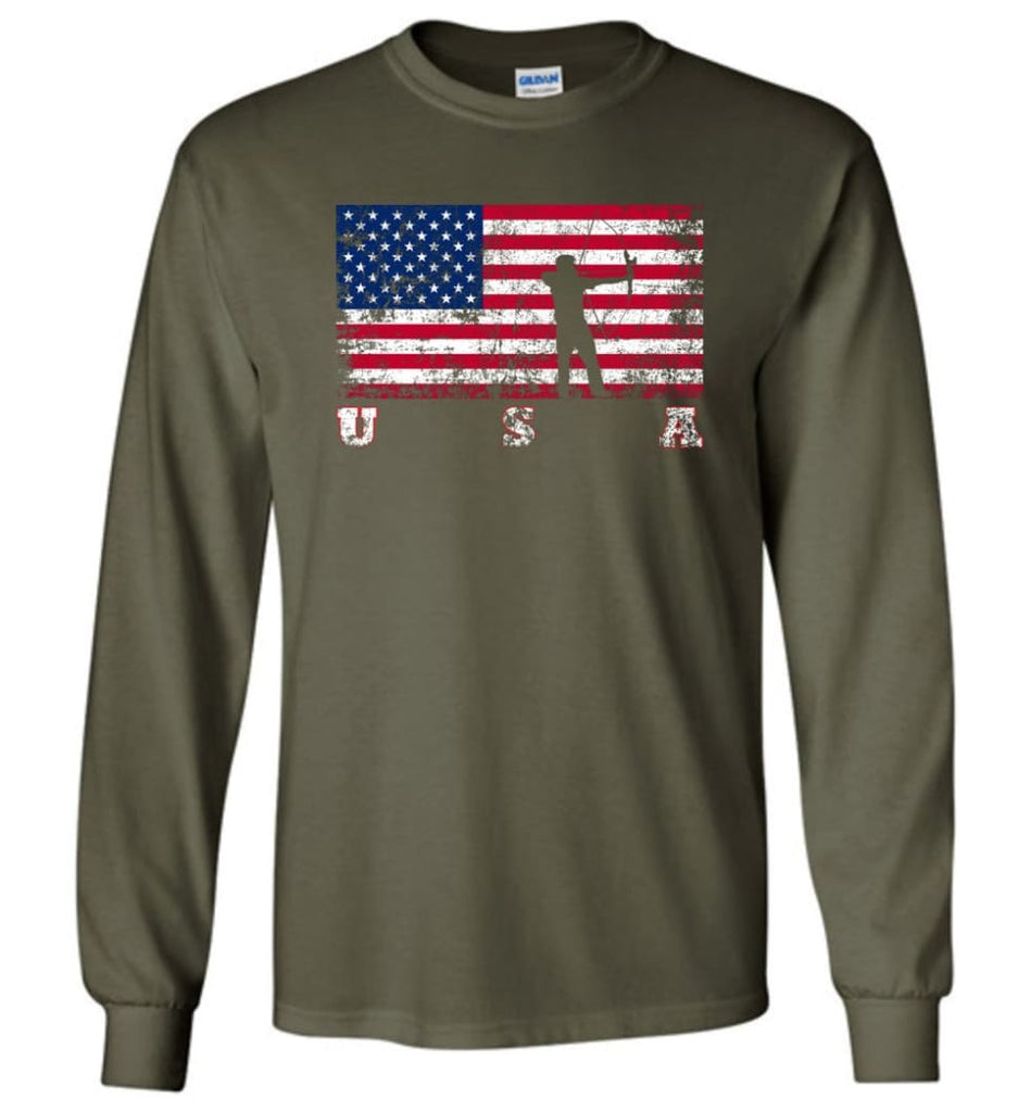 American Flag Archery Funny Archery Bow and Arrow Lover Gift Long Sleeve Shirt - Military Green / M