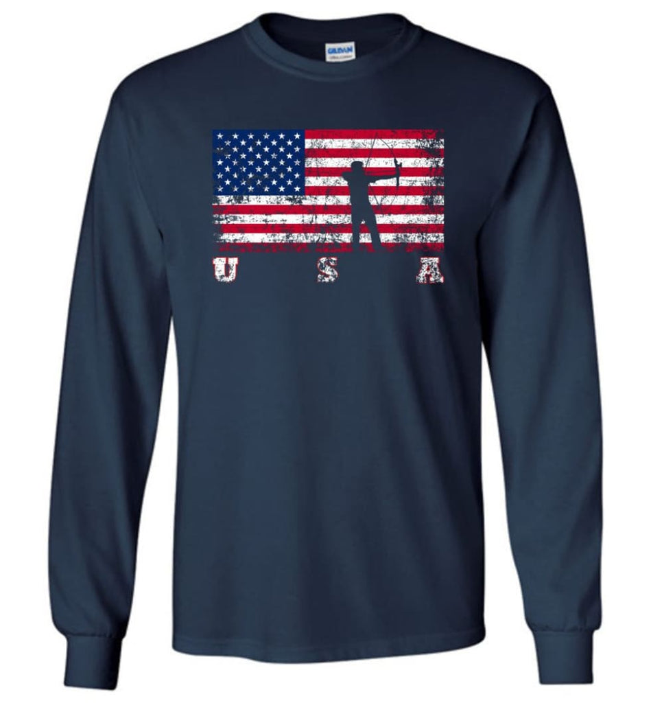 American Flag Archery Funny Archery Bow and Arrow Lover Gift Long Sleeve Shirt - Navy / M