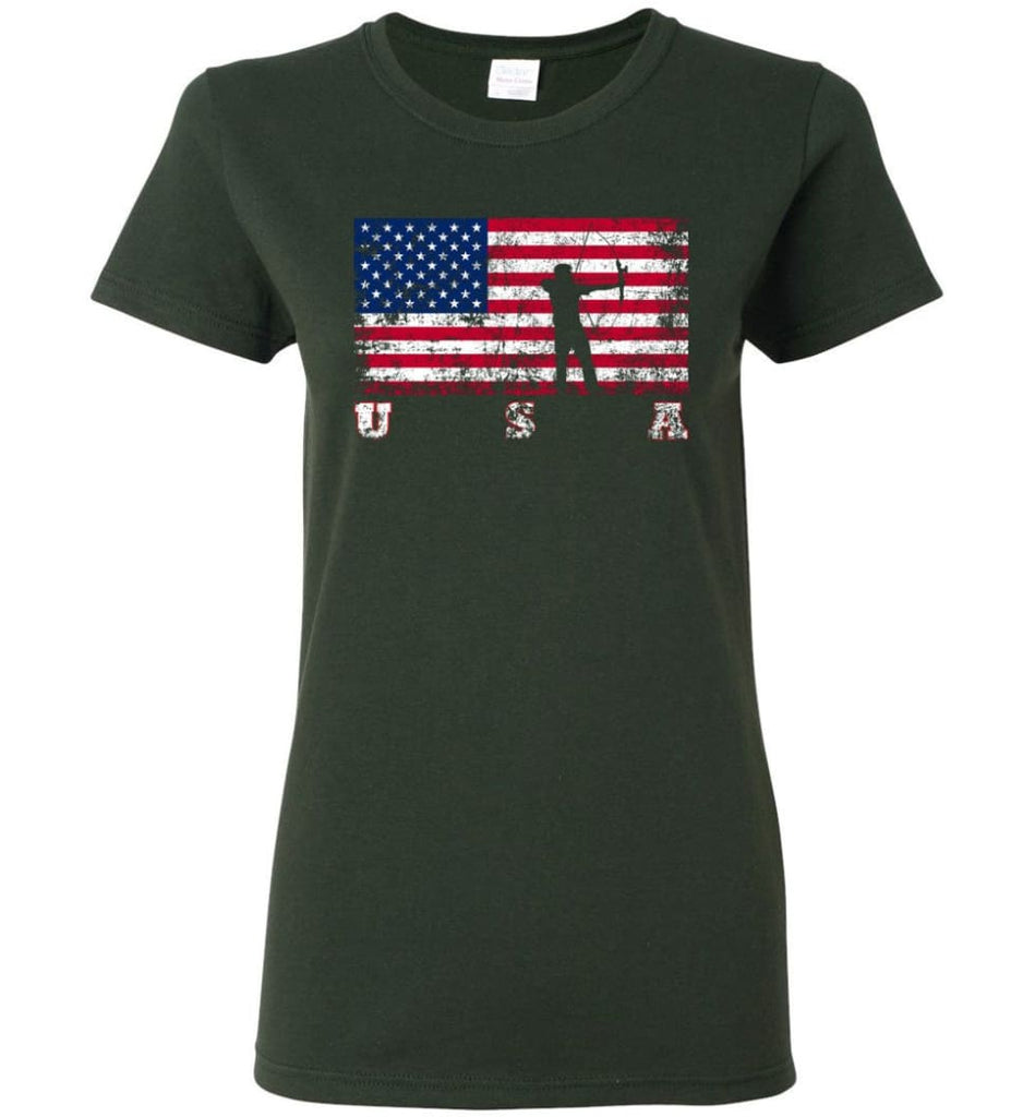 American Flag Archery Women Tee - Forest Green / M