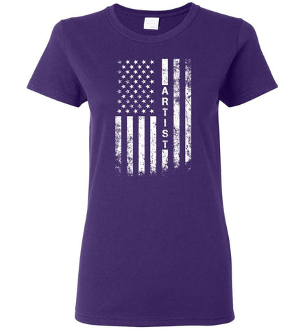 American Flag Artist Cool and Best Christmas Gifts for Artist Women T-shirt - Purple / M