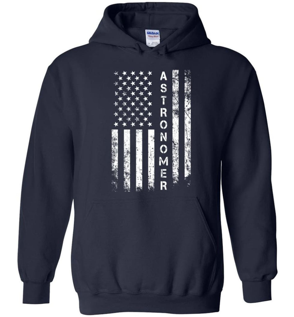 American Flag Astronomer - Hoodie - Navy / M