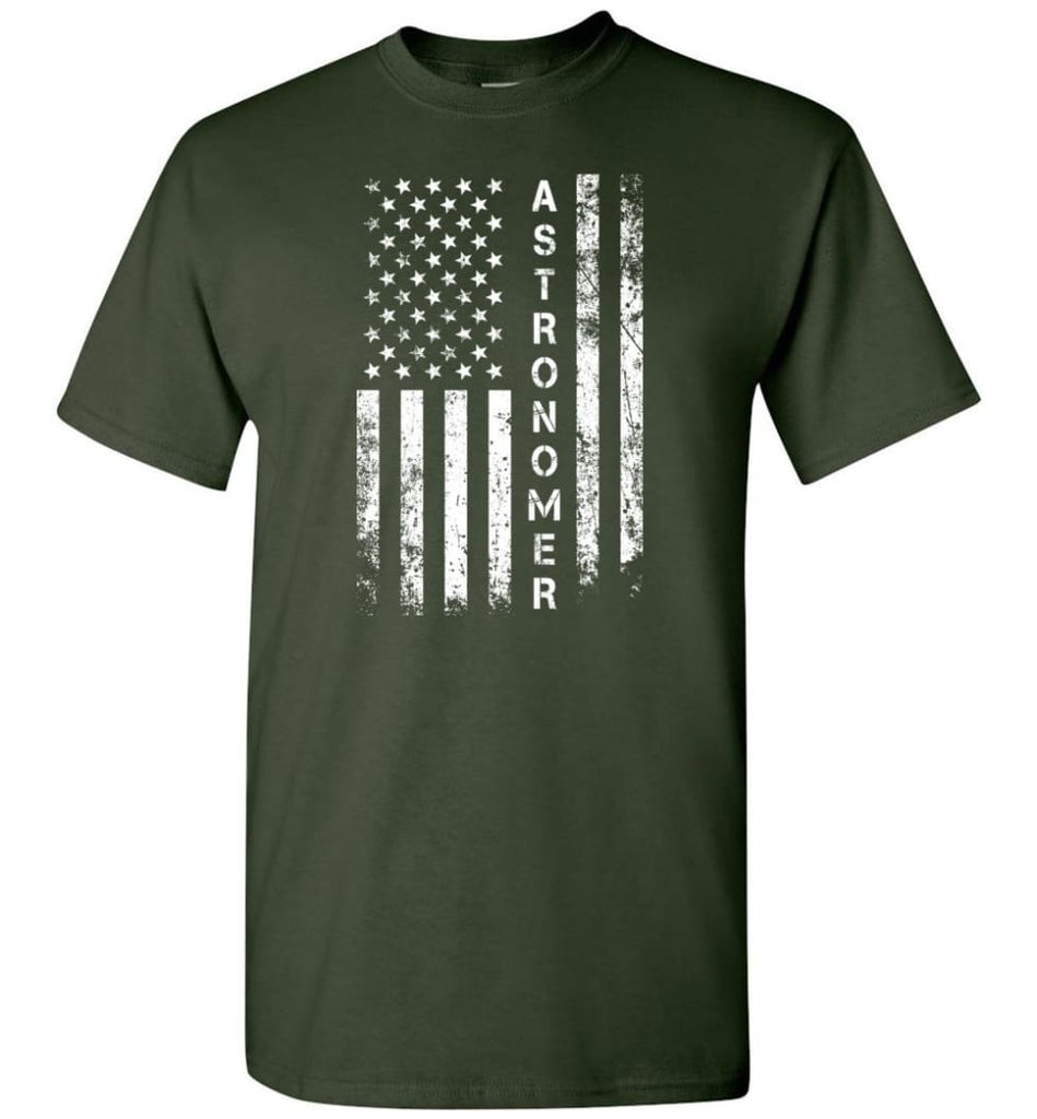 American Flag Astronomer - Short Sleeve T-Shirt - Forest Green / S