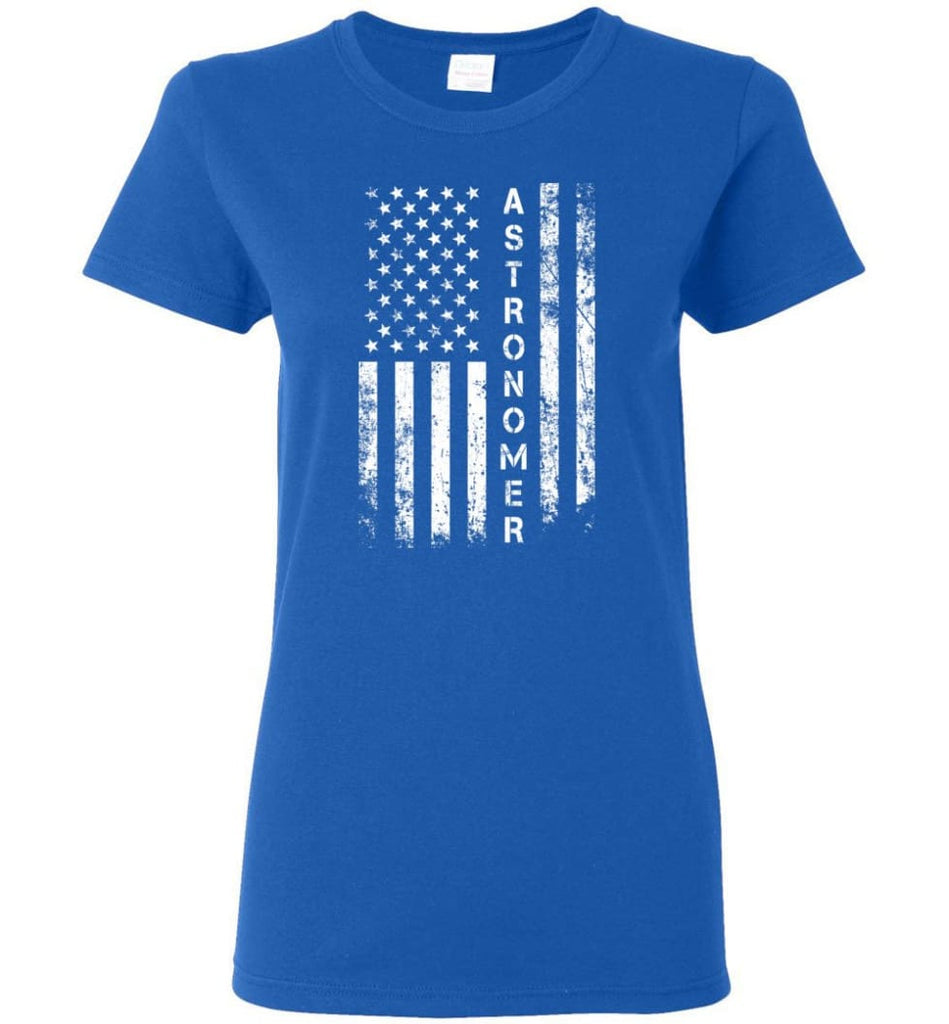 American Flag Astronomer Women Tee - Royal / M