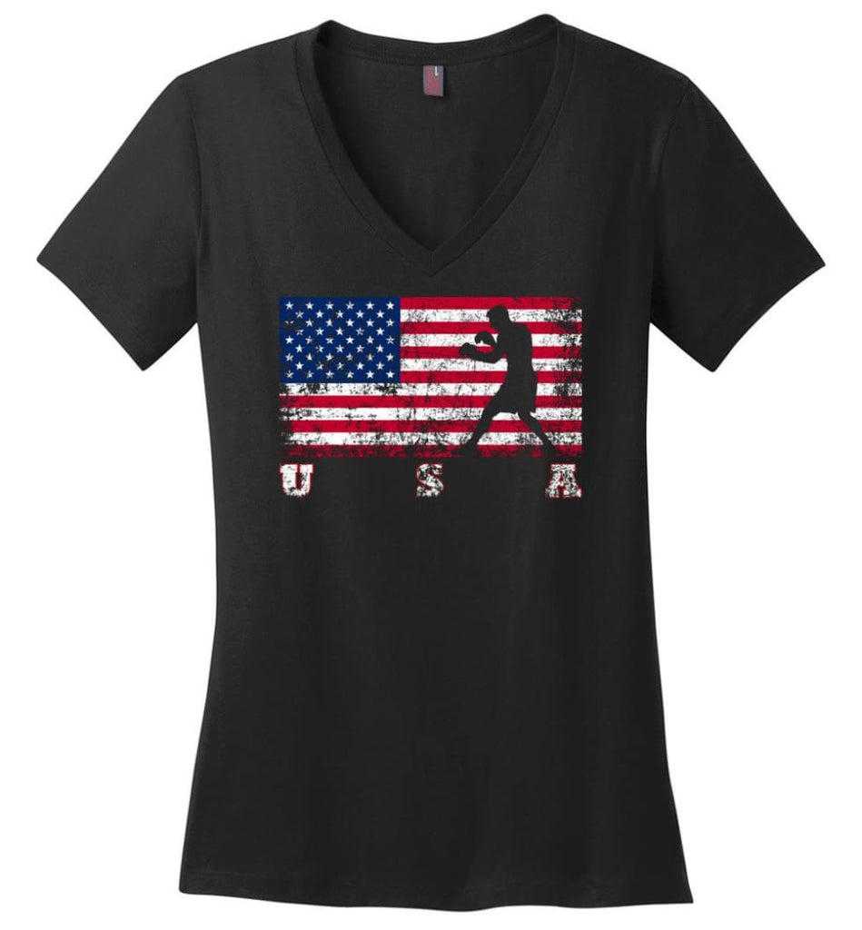 American Flag Athletics Ladies V-Neck - Black / M