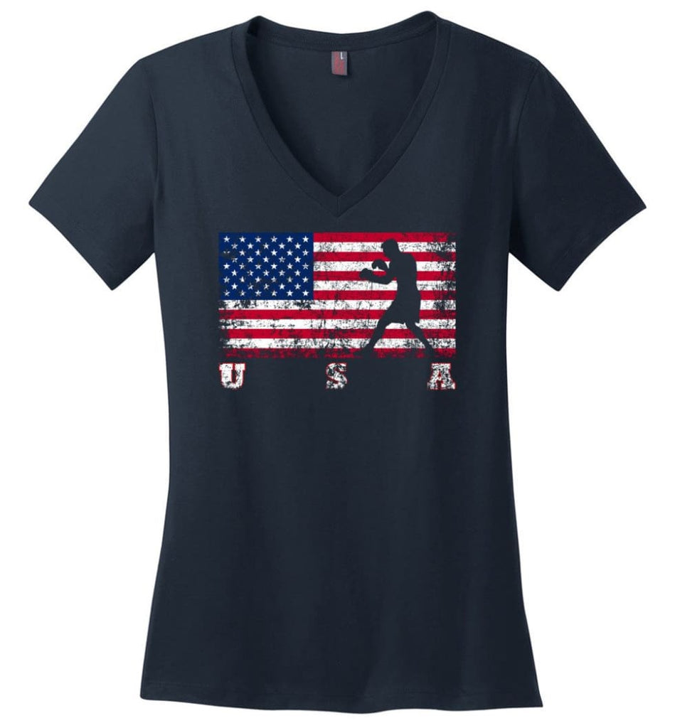 American Flag Athletics Ladies V-Neck - Navy / M