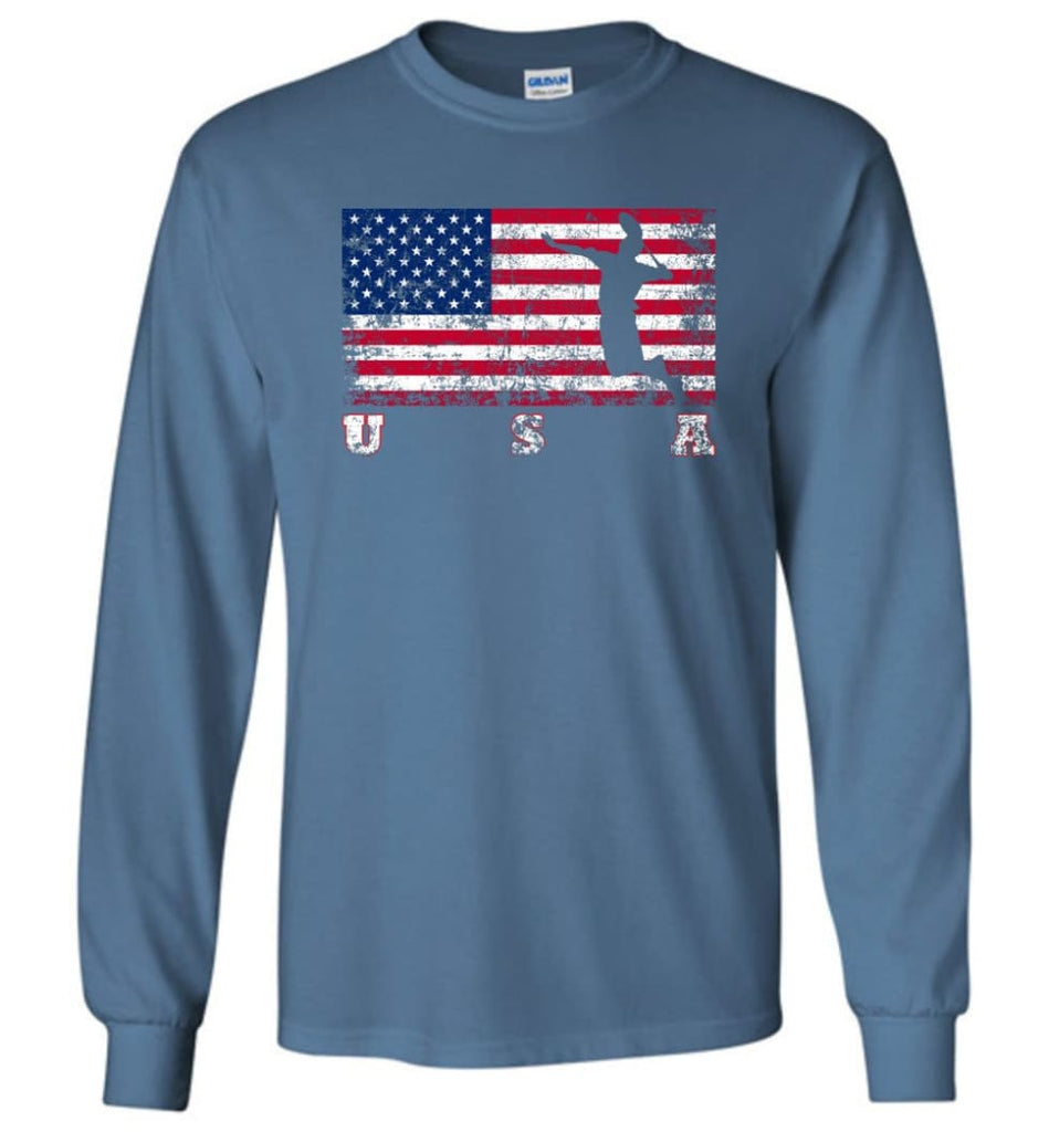 American Flag Badminton - Long Sleeve T-Shirt - Indigo Blue / M