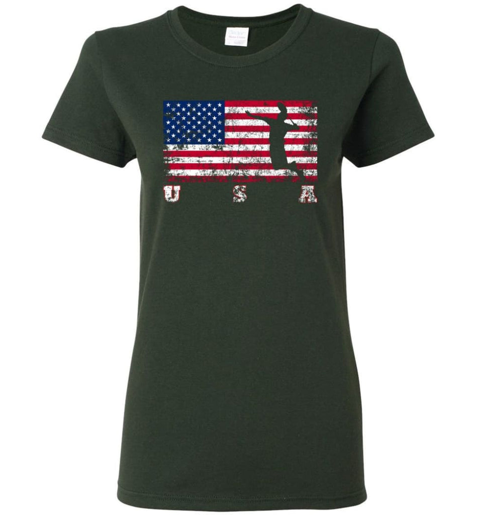 American Flag Badminton Women Tee - Forest Green / M