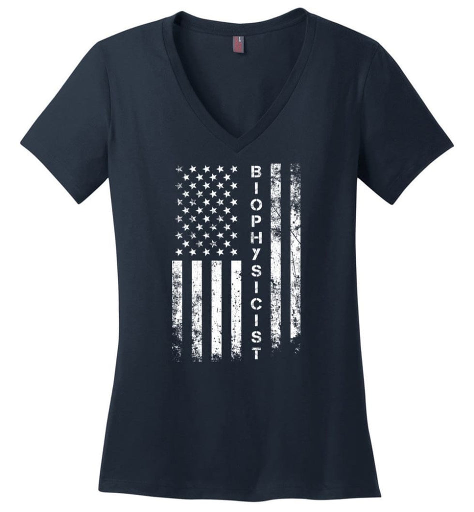 American Flag Baker Ladies V-Neck - Navy / M