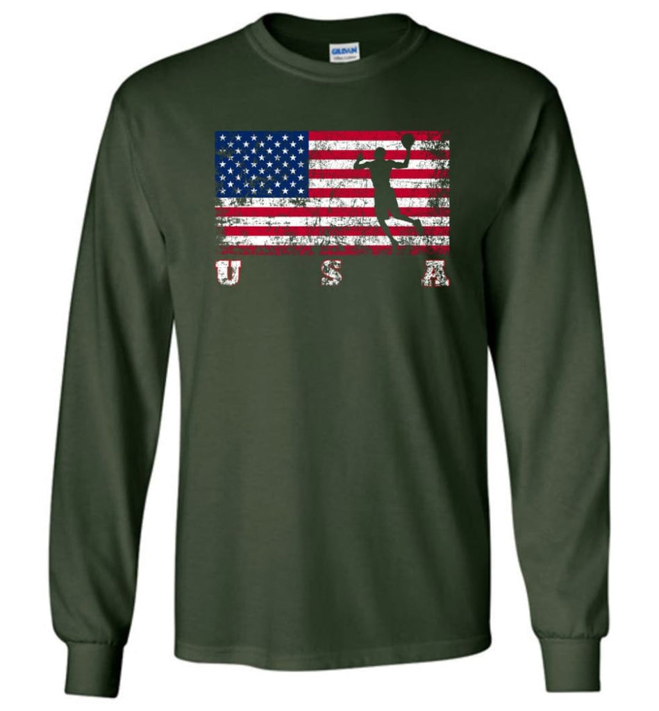 American Flag Basketball - Long Sleeve T-Shirt - Forest Green / M