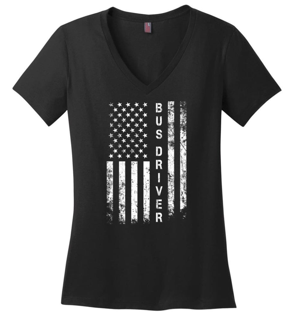 American Flag Biker Ladies V-Neck - Black / M