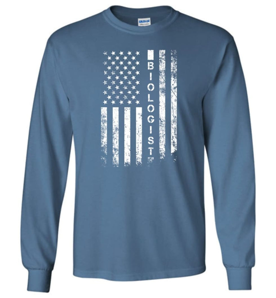 American Flag Biologist - Long Sleeve T-Shirt - Indigo Blue / M