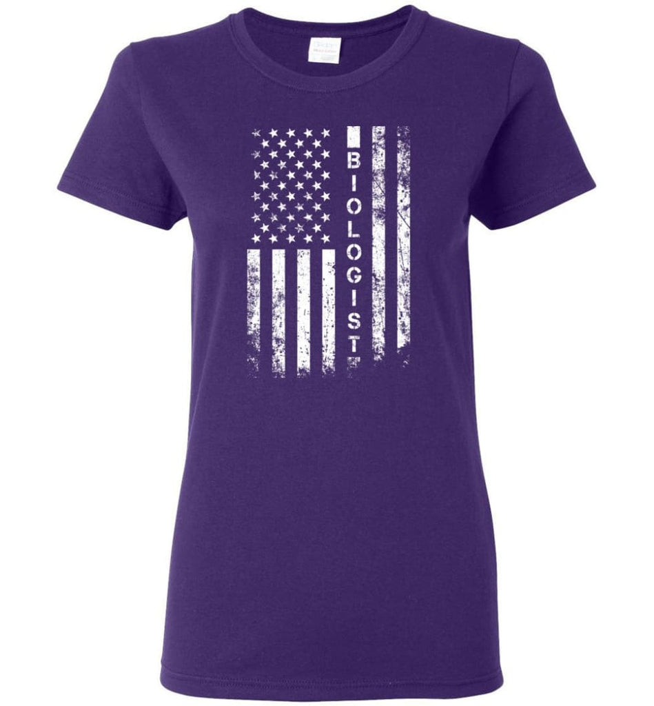 American Flag Biologist Women Tee - Purple / M