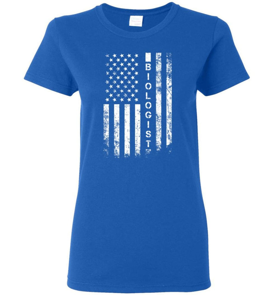 American Flag Biologist Women Tee - Royal / M
