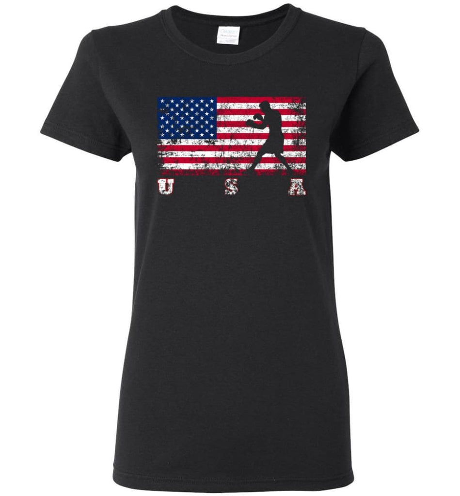 American Flag Boxing Women Tee - Black / M