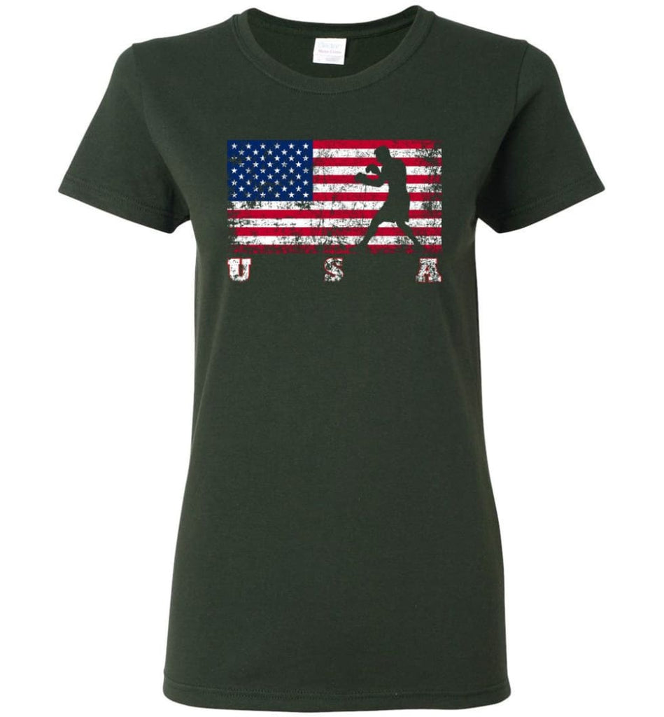 American Flag Boxing Women Tee - Forest Green / M