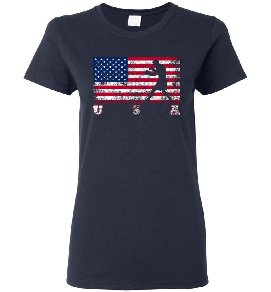 American Flag Boxing Women Tee - Navy / M
