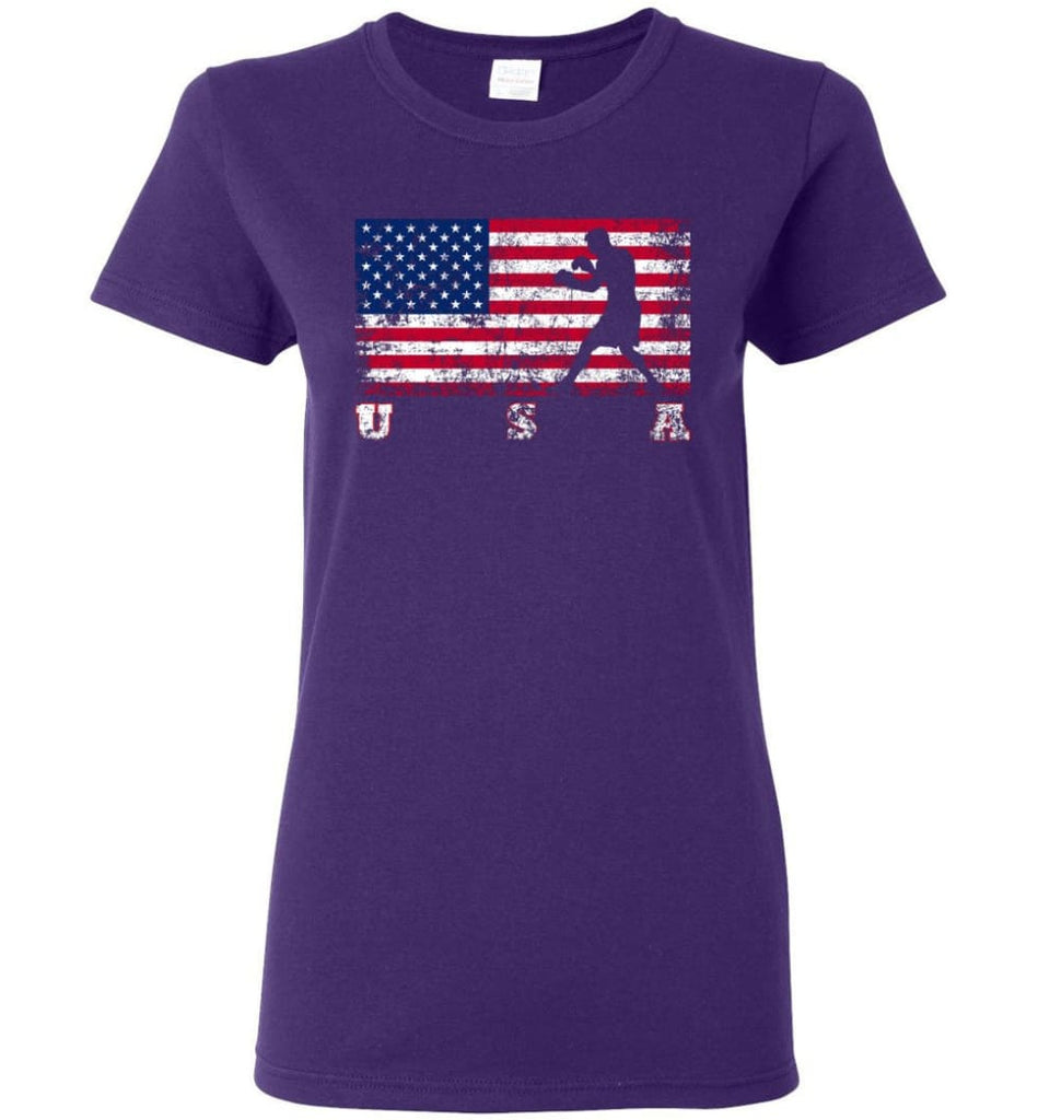 American Flag Boxing Women Tee - Purple / M