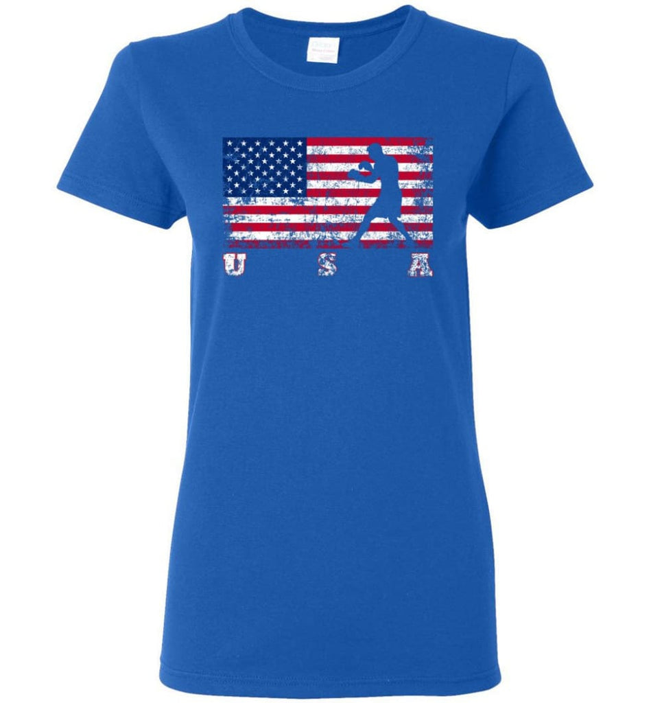 American Flag Boxing Women Tee - Royal / M