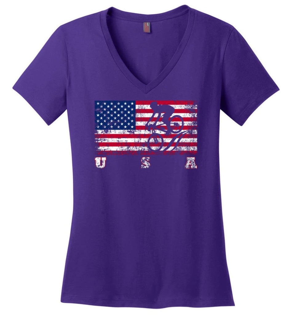 American Flag Canoe Slalom Ladies V-Neck - Purple / M