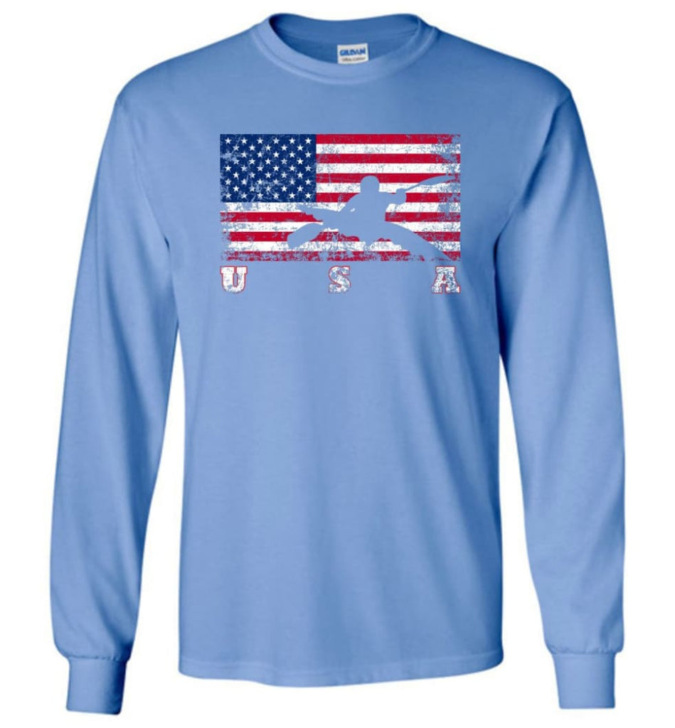 American Flag Canoe Slalom - Long Sleeve T-Shirt - Carolina Blue / M