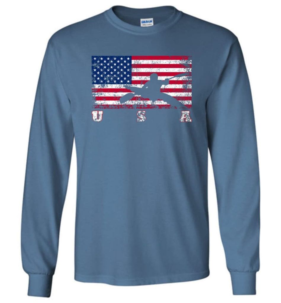 American Flag Canoe Slalom - Long Sleeve T-Shirt - Indigo Blue / M