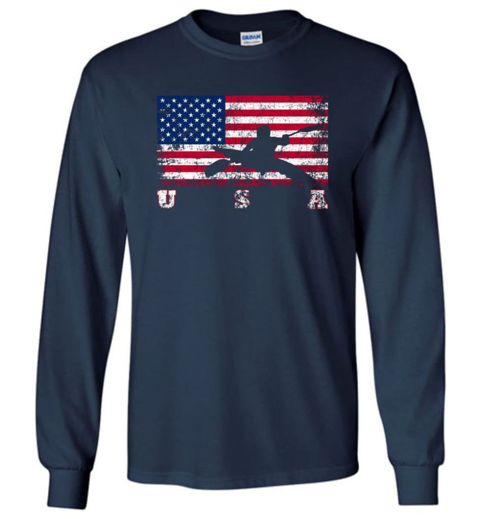 American Flag Canoe Slalom - Long Sleeve T-Shirt - Navy / M