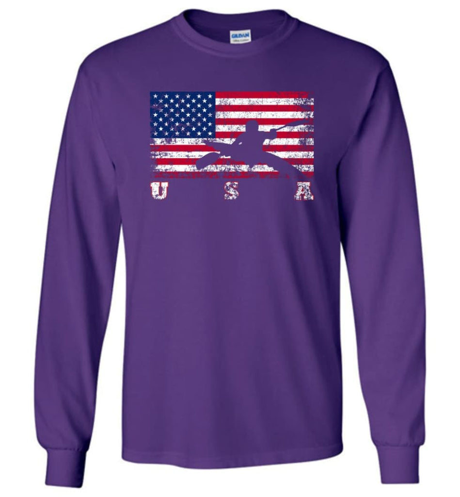 American Flag Canoe Slalom - Long Sleeve T-Shirt - Purple / M