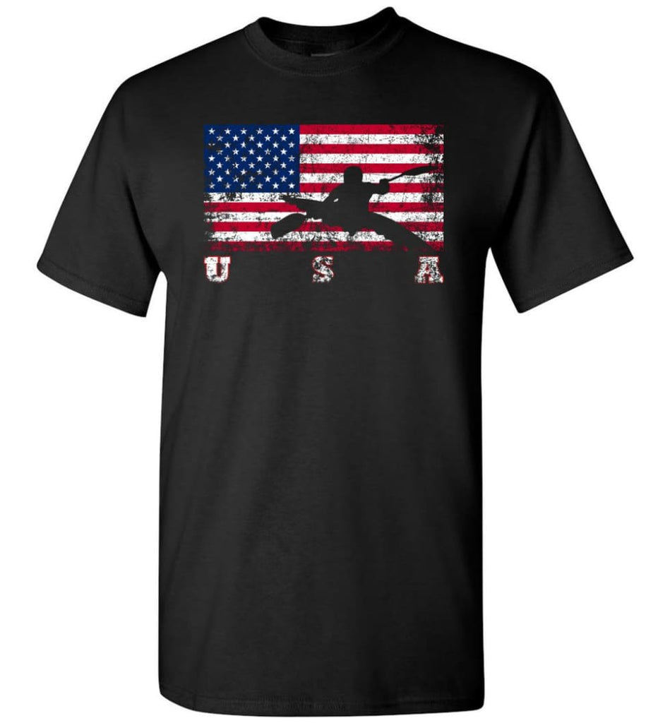 American Flag Canoe Slalom - Short Sleeve T-Shirt - Black / S
