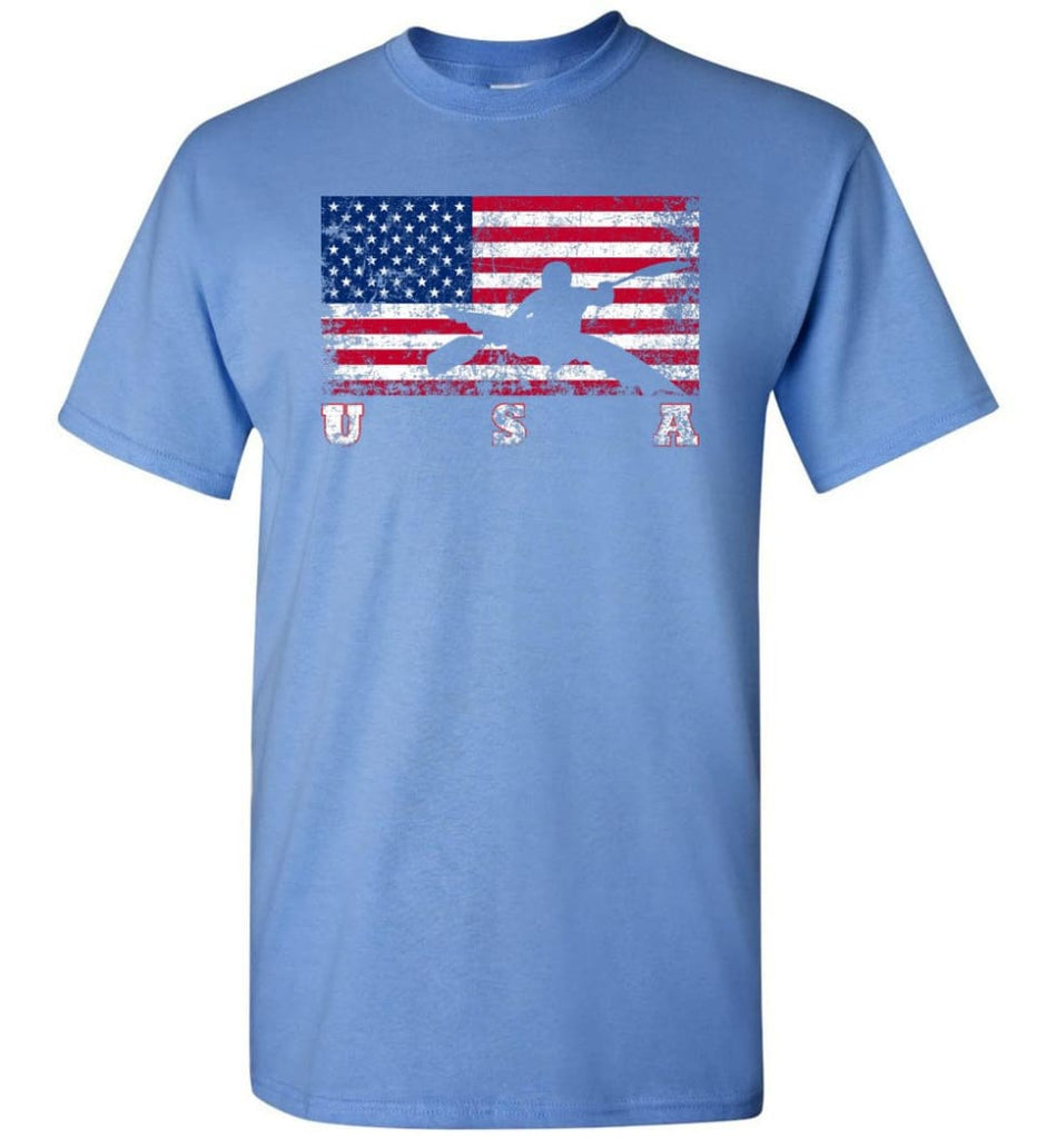 American Flag Canoe Slalom - Short Sleeve T-Shirt - Carolina Blue / S