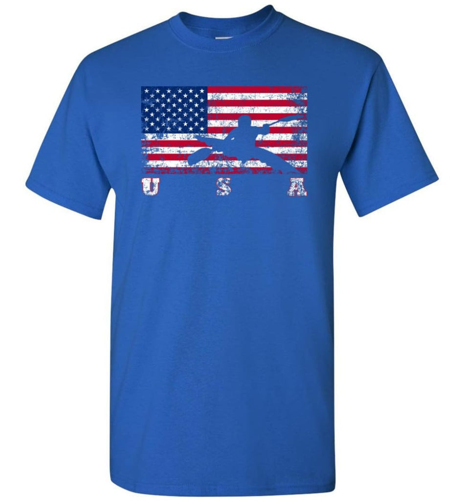 American Flag Canoe Slalom - Short Sleeve T-Shirt - Royal / S