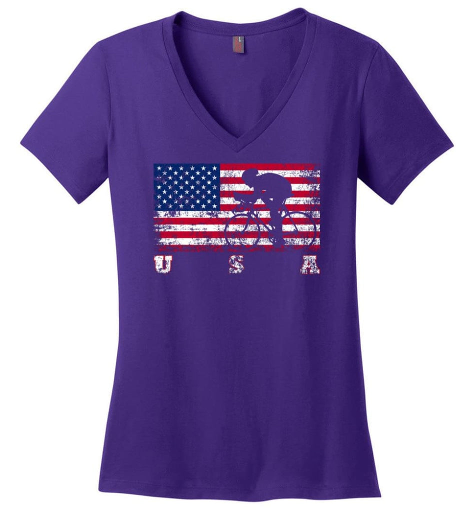 American Flag Canoe Sprint Ladies V-Neck - Purple / M