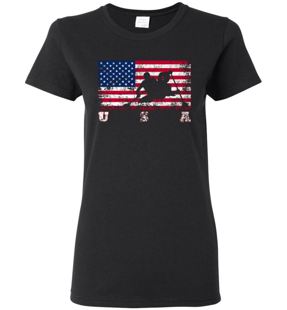 American Flag Canoe Sprint Women Tee - Black / M