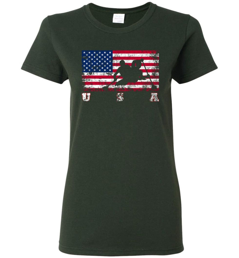 American Flag Canoe Sprint Women Tee - Forest Green / M